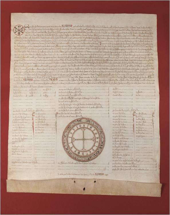 Privilegio rodado de Alfonso X El Sabio, 1261. Contiene el privilegio fundacional de Alfonso VII de 1142
